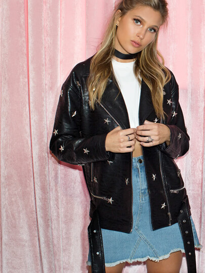 Star Studded Belted Hem Biker Jacket