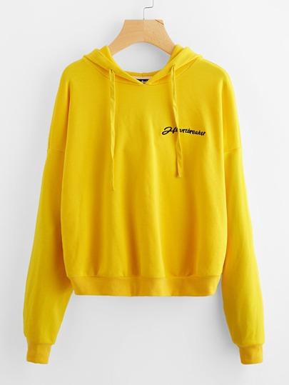 Drop Shoulder Embroidered Hoodie