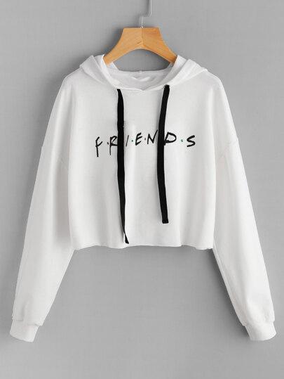 Capucha de borde crudo de hombros caídos con estampado de Friends