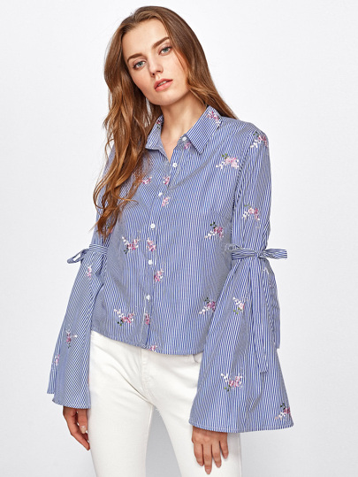 Drop Shoulder Lace Up Sleeve Embroidery Blouse