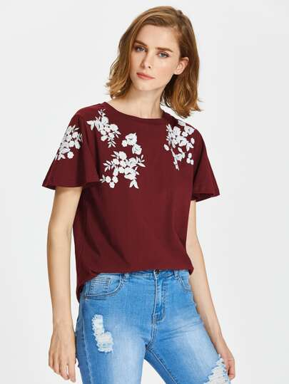 Flower Embroidered Flutter Sleeve Tee