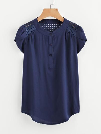 Blusa de bordado con panel