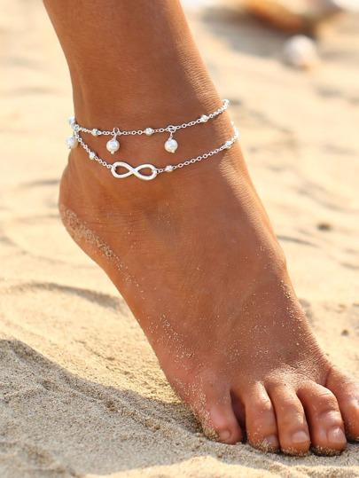 Braccialetto / cavigliera con perle sintetiche
