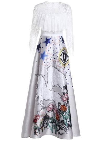 Horse Print Contrast Lace Maxi Dress