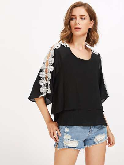 Contrast Crochet Layered Blouse