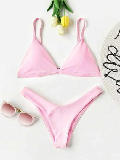 High Leg Triangle Bikini Set
