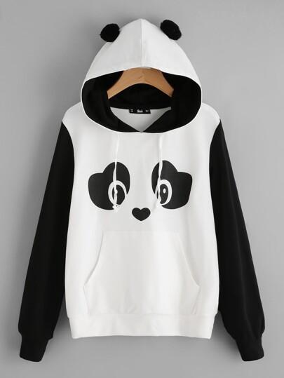 Sweat encapuchonné avec détail de pompon imprimé panda