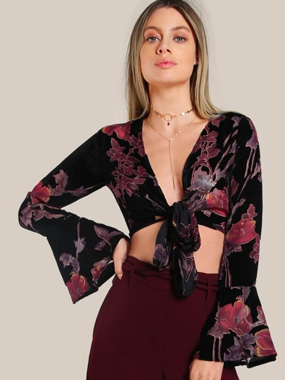 Printed Velvet Bell Sleeve Crop Top BLACK