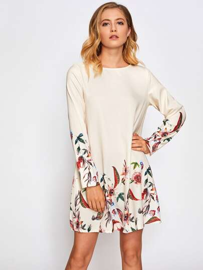 Vestido túnica con estampado botánico