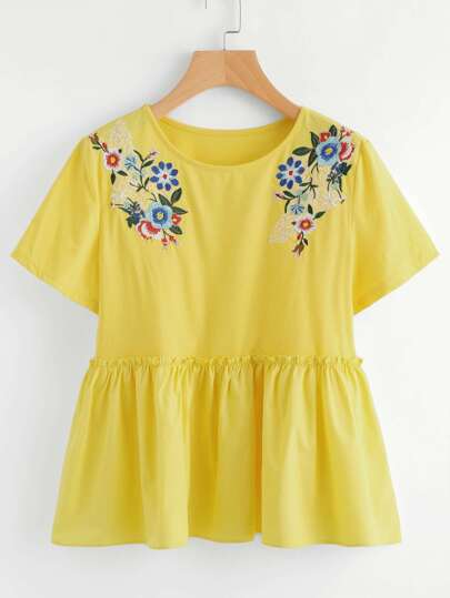 Flower Embroidered Frilled Smock Top