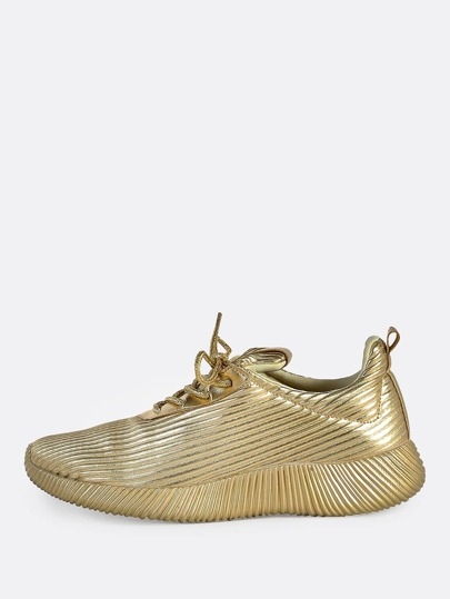Metallic Lace Up Textured Sneakers GOLD