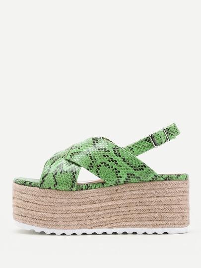 Sandali con zeppa con stampa di pelle di serpente