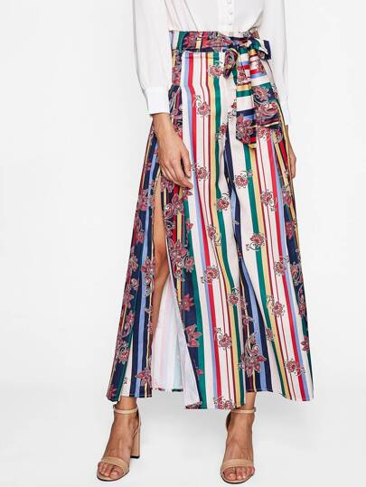 Block Striped High Split Tie Waist Palazzo Pants