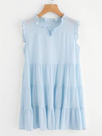 Tie Neck Frill Trim Sleeveless Dress