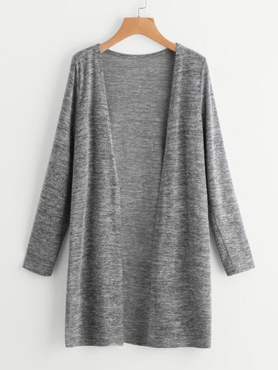 Heather Knit Slit Side Longline Cardigan