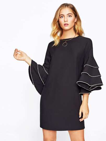Rhinestone Embellished Layered Bell Sleeve Dress