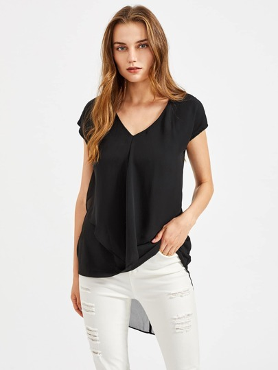 Frill Layered High Low T-shirt