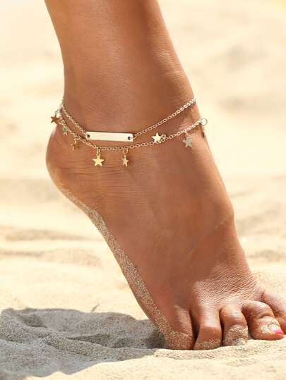 Star & Bar Detail Layered Chain Anklet