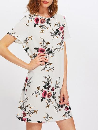 Buttoned Keyhole Back Floral Dress
