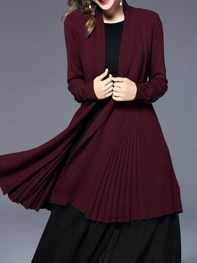 Long Sleeve Pleated Cardigan