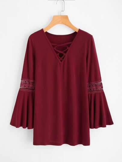 V-neckline Crisscross Crochet Insert Flute Sleeve Tshirt