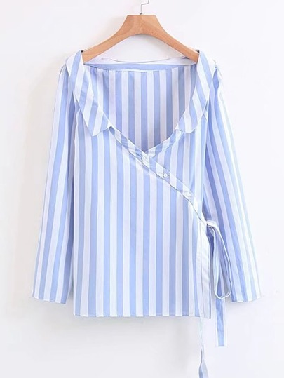 Vertical Striped Lace Up Wrap Blouse