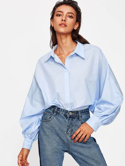 Exaggerate Bishop Sleeve Curved Shirt