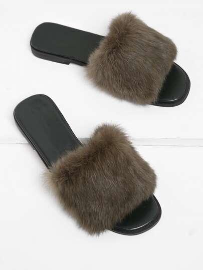 Faux Fur Decorated Slide Sandals