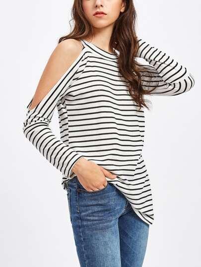 Open Shoulder Ribbed Stripe Tshirt