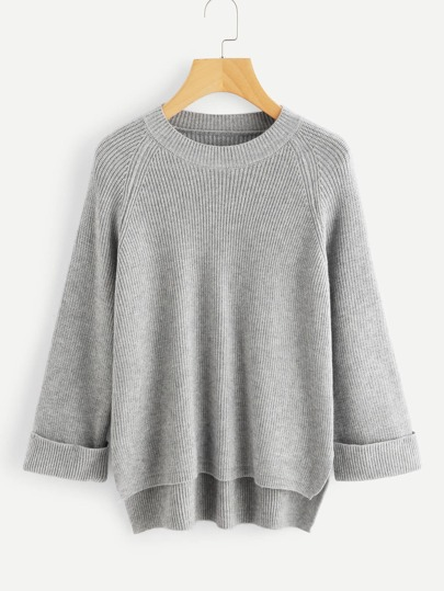 Raglan Sleeve Slit Side High Low Sweater