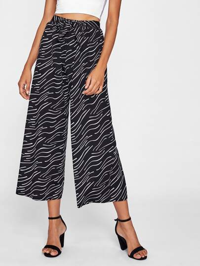 Tie Waist Allover Print Culotte Pants