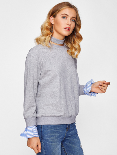 Striped Ruffle Cuff Heather Knit Pullover