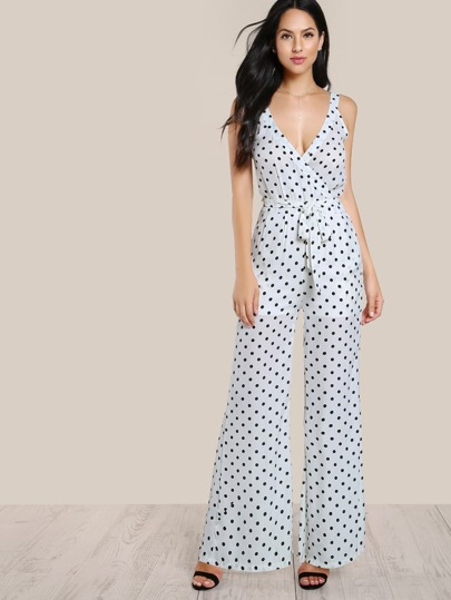 Sleeveless Polka Dot Jumpsuit WHITE