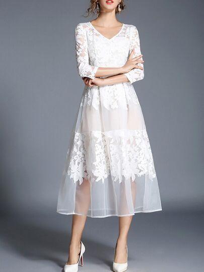 V Neck Lace A-Line Dress