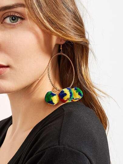 Pom Pom Design Hoop Earrings