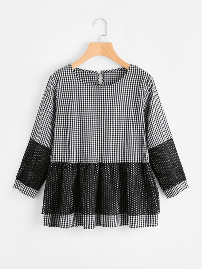 Contrast Fishnet Tiered Gingham Blouse