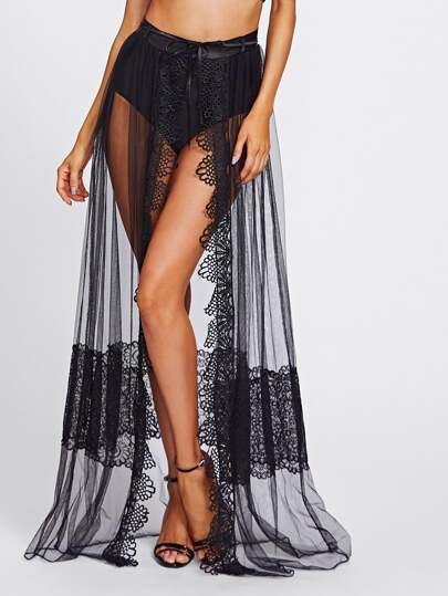 Crochet Trim See-Through Floor Length Skirt