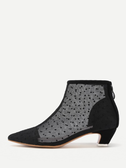 Lace Overlay Pointed Toe Ankle Boots