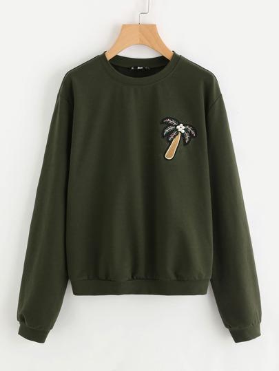 Pearl Beading Patch Detail Drop Shoulder Sweatshirt