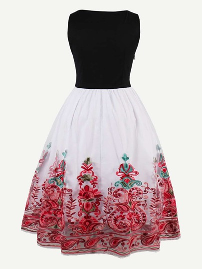 Flower Embroidered Mesh Overlay Combo Dress