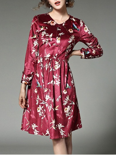 Button Front Flower Allover Print Shirt Dress