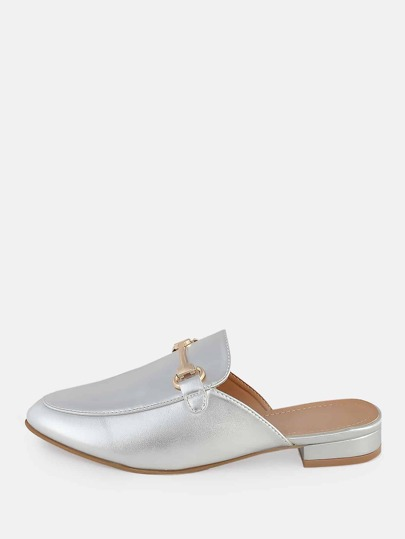 Metallic Front Buckle Loafers Slides SILVER