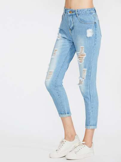 Distress Cuffed Crop Jeans