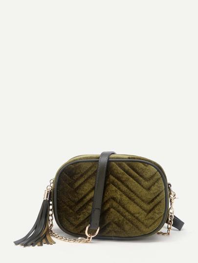 Sac bandoulière en velours avec des franges et couture en forme de type V