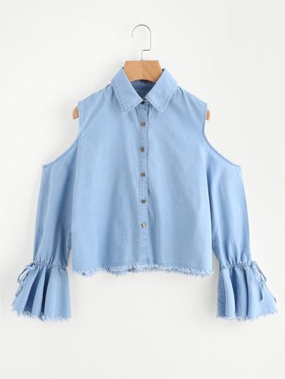 Ruffle Sleeve And Hem Blouse