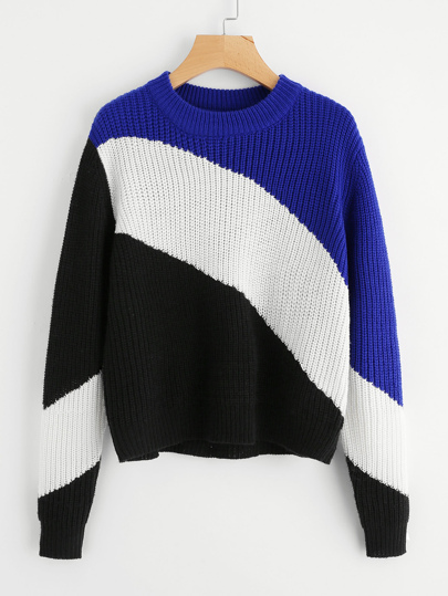 Ribbed Trim Color Block Jumper