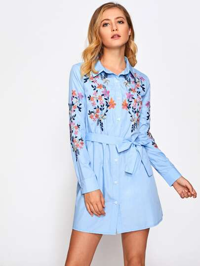 Self Belted Botanical Embroidered Shirt Dress