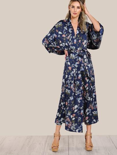 Floral Print Satin Wrap Kimono NAVY MULTI