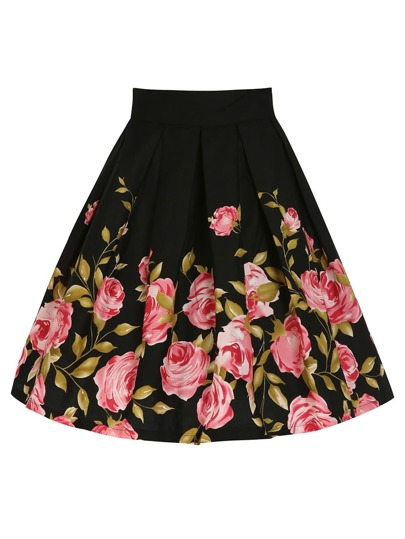 Rose Print Box Pleated Skirt