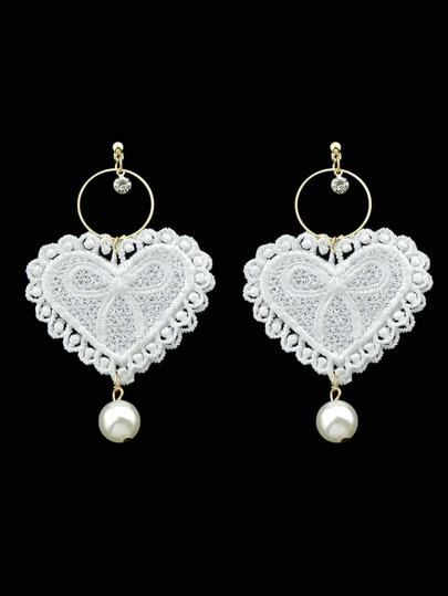 Lace Love Pearl Pendant Creative Personality Earrings